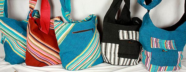 Lot of Five Woven Jute Bags with Front Pocket