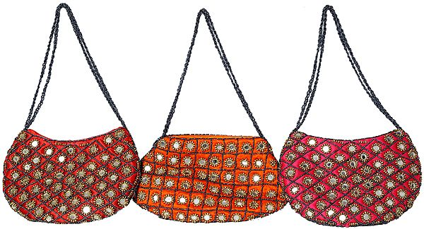 Lot of Three Mirrored Handbags with Beaded Shoulder Strap