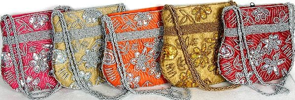Lot of Five Handbags with Sequins and Embroidered Beads