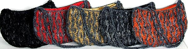 Lot of Five Boat Shaped Handbags with Densely Embroidered Beads