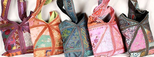 Lot of Five Patchwork Gujarati Handbags with Mirrors