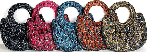 Lot of Five Handbags with All-Over Beadwork