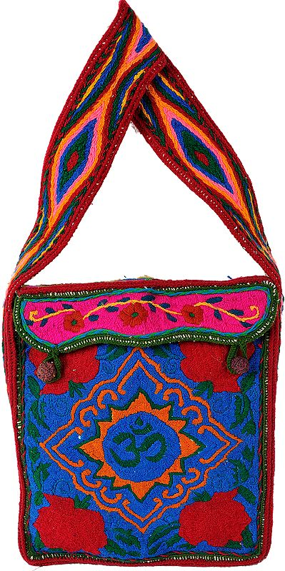Large Shoulder Bag from Haridwar with Om in Threadwork