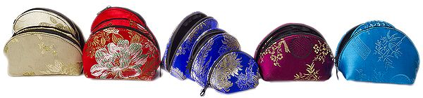 Lot of Five Sets of Brocaded Clutch Bags from Nepal