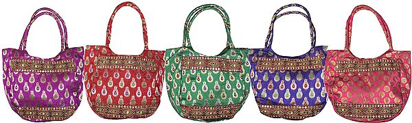 Lot of Five Shopper Bags with Brocade Weave and Embroidered Patch Border