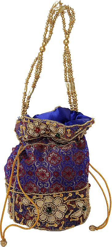 Purple and Yellow Drawstring Potli Bag with Embellishments and Patchwork