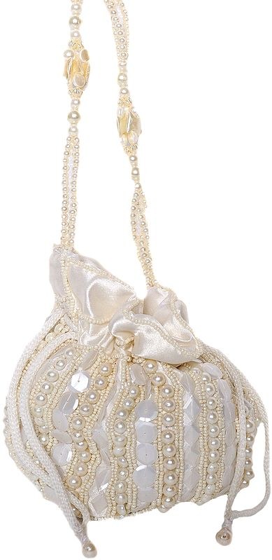 Ivory Potli Drawstring Bag with Embroidered Beads and Faux Pearls