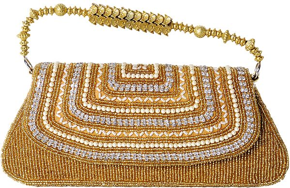 Handbag with Dense Beadwork and Faux Pearls