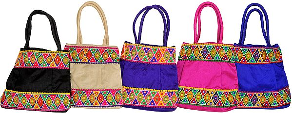Lot of Five Plain Shopper Bag with Embroidered Floral Patch Border