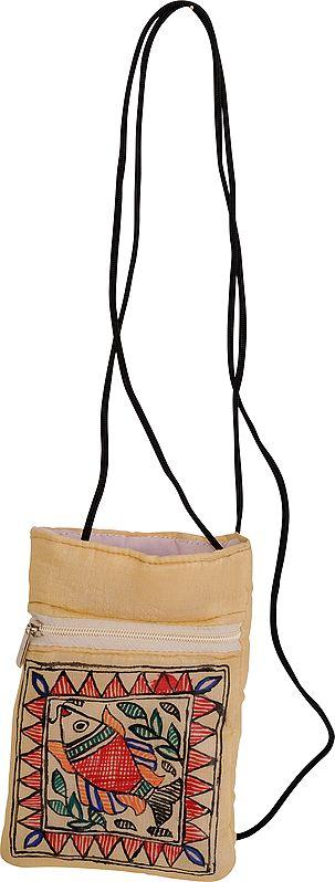 Cream Mobile Bag with Madhubani Hand-Painted Fish