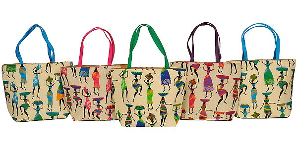 Lot of Five Shopper Bags with Digital Folk Print