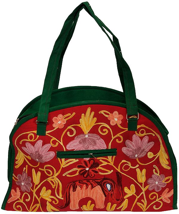 Red and Green Shopper Bag from Kashmir with Ari Floral-Embroidery
