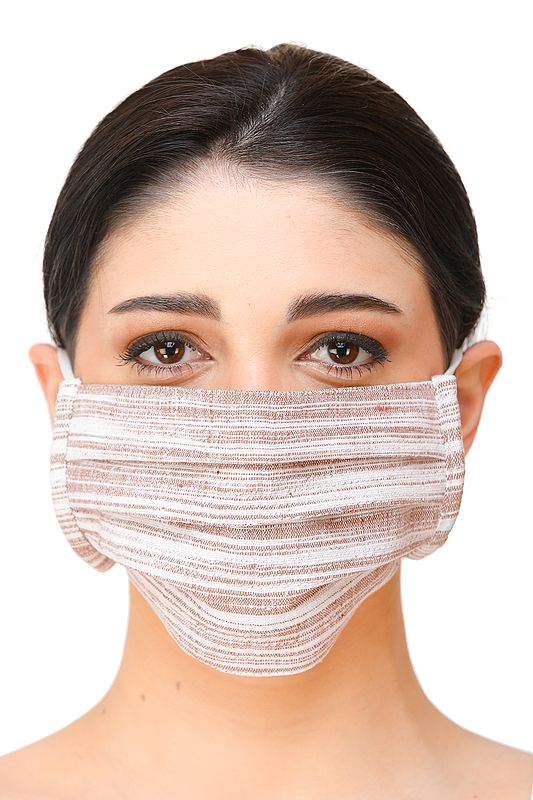White and Brown Khadi Cotton Two ply Fashion  Mask with Cotton-Backing and Ear Loops