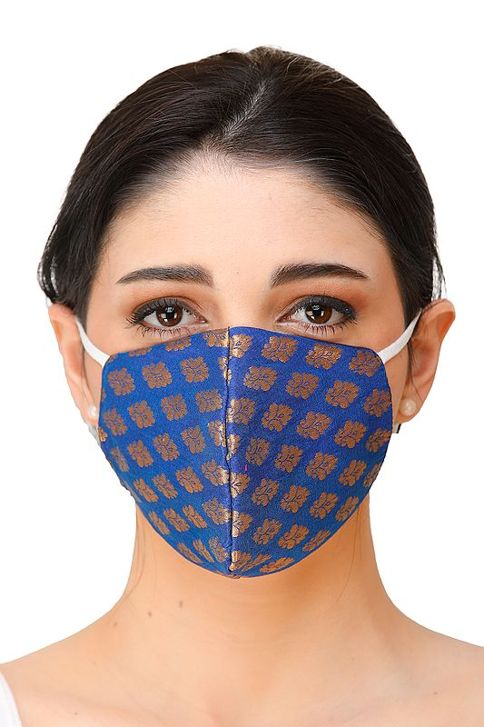 Blue Brocade Two ply Fashion Mask from Banaras with Woven Flowers and Cotton-Backing