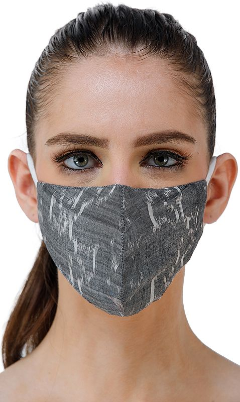 Frost-Gray Handloom Pure Silk Two Ply Fashion Mask with Ikat Weave from Pochampally