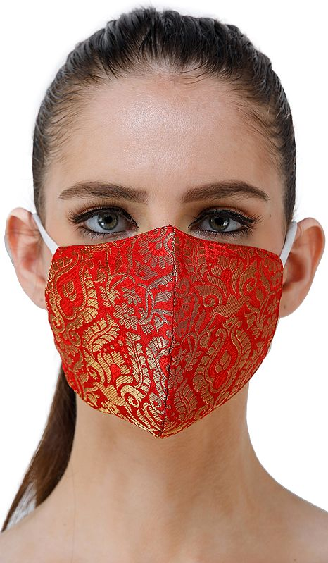 Red Brocade Two Ply Fashion Mask from Banaras with Woven Motifs and Zari Weave