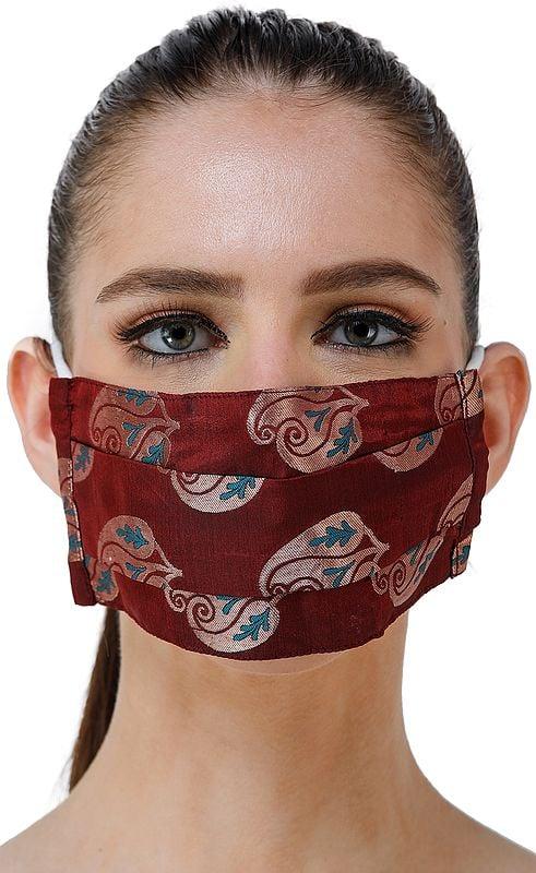 Maroon Katan Handloom Fabric Two Ply Fashion Mask from Banaras with Paisleys Woven in Circular Bootis