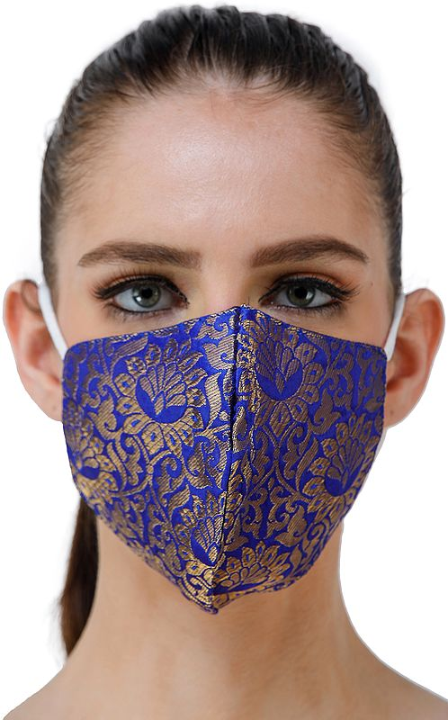 Blue Brocade Two Ply Fashion Mask from Banaras with Woven Motifs and Zari Weave