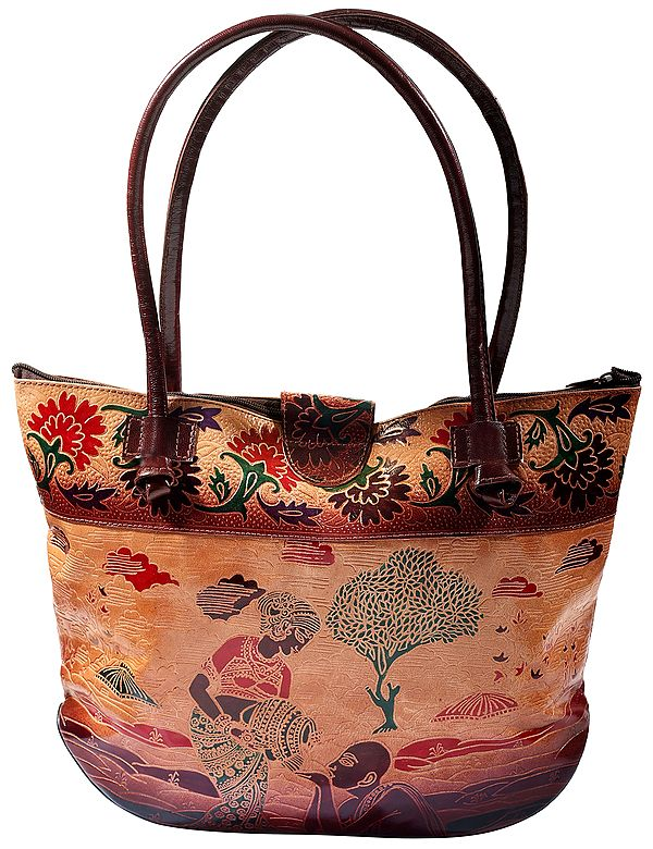 Pure Leather Shoulder Bag from Shantiniketan Kolkata, Hand-Carved and Hand-Painted with Non-Toxic Vegetable Dyes