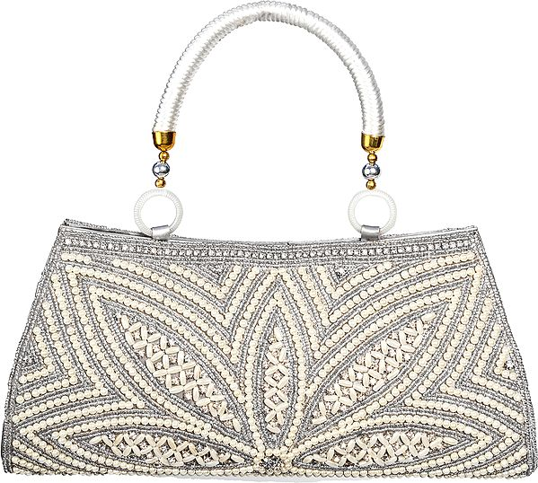 Silver Clutch/Hand Bag from Gujarat with Crystals, Beads and Faux Pearls