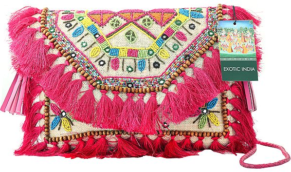 Papyrus-White Sustainable Jute Sling/Shoulder/Cross-Body Boho Chic Bag with Pink Banjara Tassels, Wooden and Multicolored Beads
