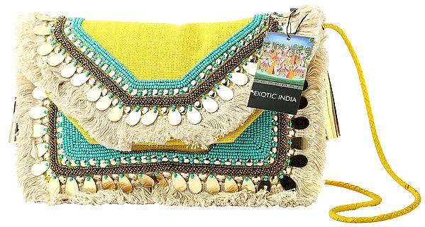 Eco-Jute Sling/Shoulder/Cross-Body Bohemian Embelished Bag with Cotton Banjara Tassels, Turquoise Beads and Golden Mirrors