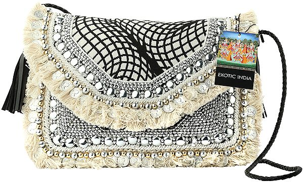 Black and White Sling/Shoulder/Cross-Body Gypsy Woven Bag with Cotton Banjara Tassels, Beads and Coins
