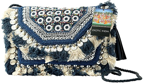 Denim-Blue Sustainable Jute Sling/Shoulder/Cross-Body Bohemian Embelished Woven Bag with Cotton Banjara Tassels, Multicolored Beads and Coins