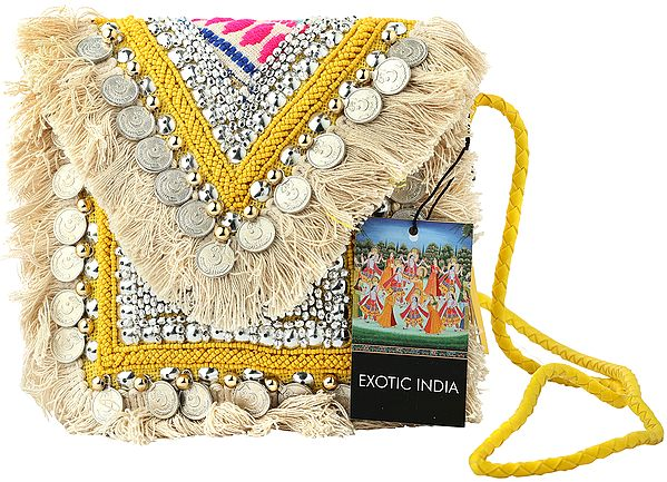 Lemon-Yellow Eco-Jute Sling/Shoulder/Cross-Body Gypsy Chic Bag with Cotton Banjara Tassels, Yellow Beads and Silver Coins