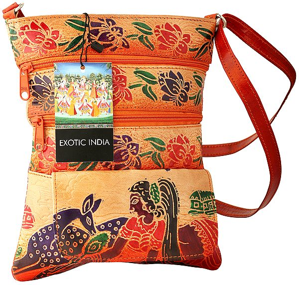 Rust-Orange Pure Leather Boho Cross-body/Sling/Messenger Bag from Shantiniketan Kolkata, Hand-Carved and Hand-Painted with Non-Toxic Vegetable Dyes