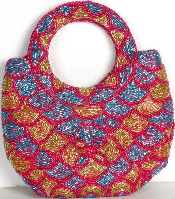 Tri-Colored Densely Beaded Handbag