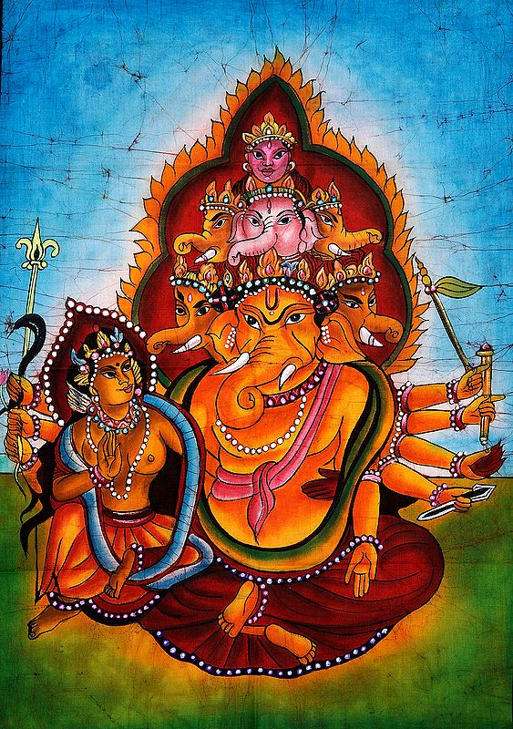 Shakti Ganesha with a Pyramid of Heads (Topped by Devi)