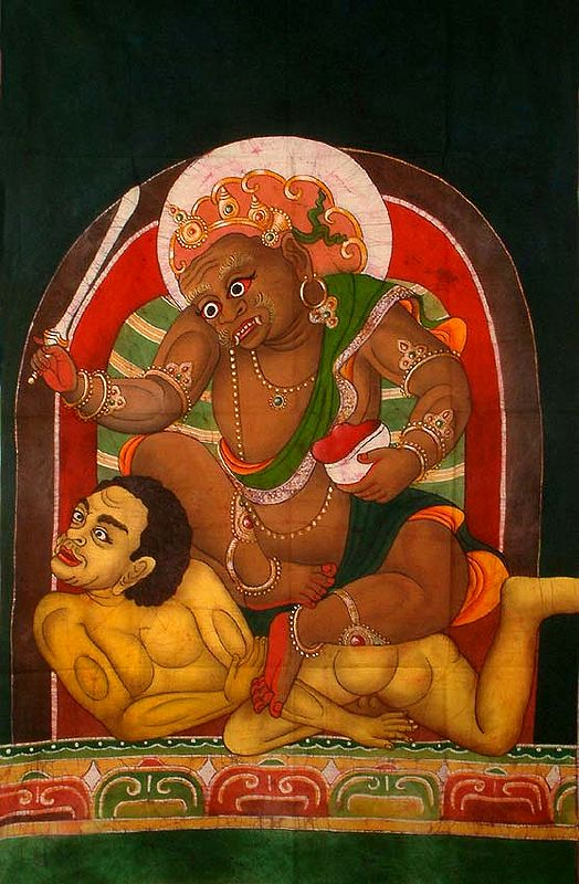 Kubera-Jambhala Seated on a Sky-Clad Muscular Male