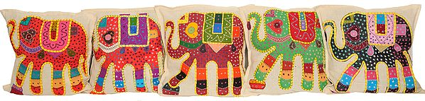 Lot of Five Appliqué Elephant Cushion Covers with All-Over Kantha Embroidery