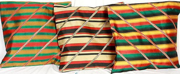 Lot of Three Woven Cushion Covers from Banaras
