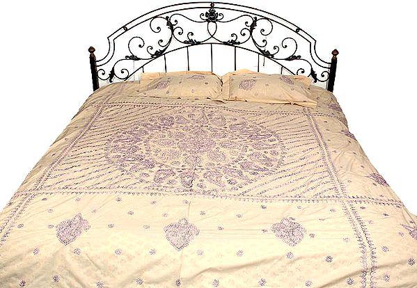 Beige Bedspread with Lavender Lukhnavi Chikan Embroidery
