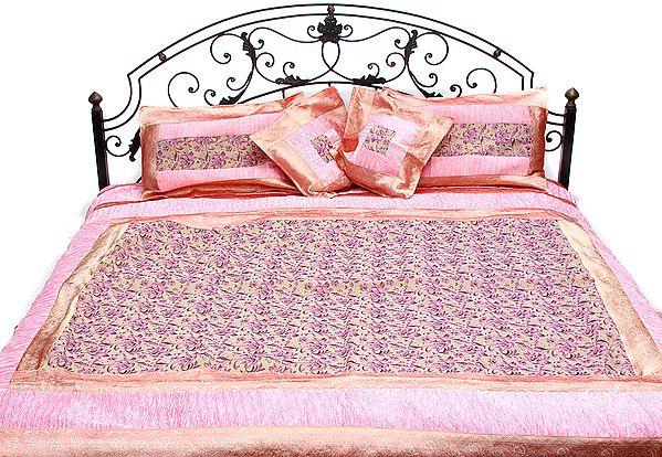 Geranium-Pink Five-Piece Banarasi Bedspread with Woven Flowers