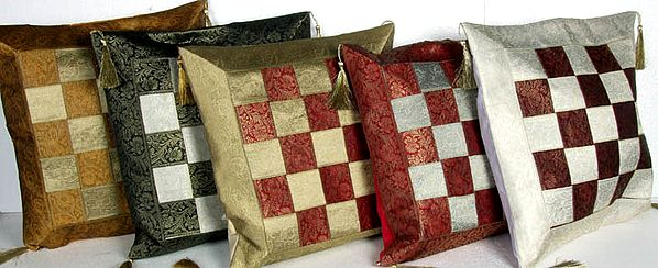 Lot of Five Matted Cushion Covers with Brocade Weave