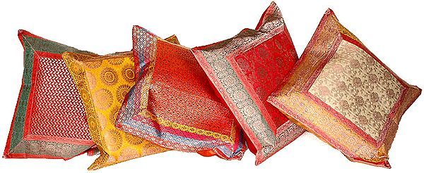 Lot of Five Cushion Covers from Banaras with Brocade Weave