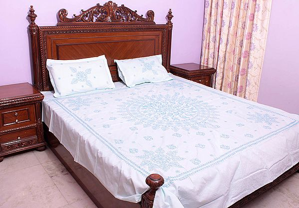 Chikan Hand-Embroidered Pale-Cyan Bedspread from Lucknow