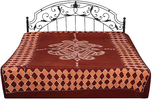 Oxblood-Red Batik Bedspread from Kutch with Printed Checks and Paisleys