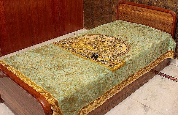 Ganesha Enthroned on an Green Batik Single-Bed Bedspread