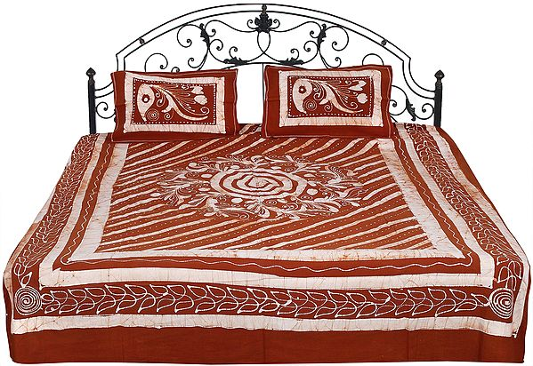 Rustic-Brown Batik Bedspread from Kutch with Printed Florals and Motifs