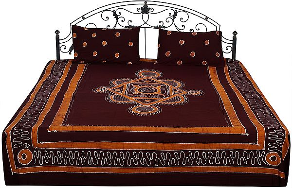 Batik Bedspread from Kutch with Printed Dots and Motifs