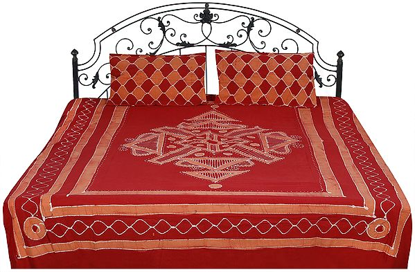 Batik Bedspread with Printed Checks and Motifs