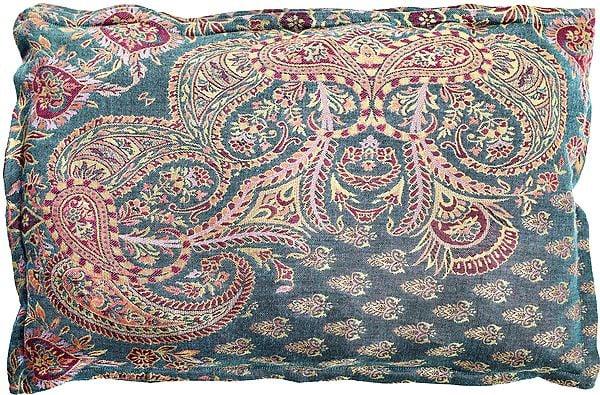 Blue-Mist Kani Jamawar Pillow Cover with Woven Paisleys and Bootis