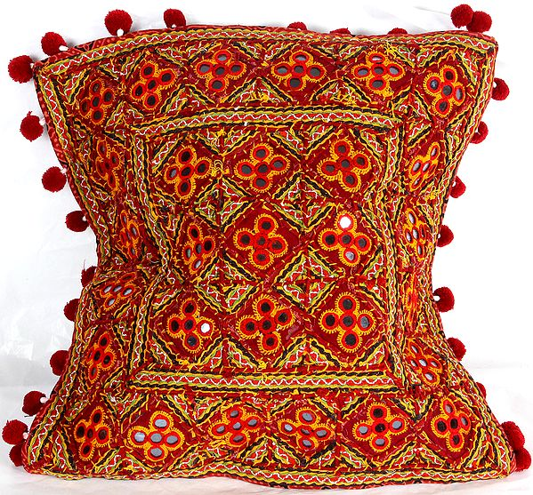 Maroon Cushion Cover from Kutch with Heavy-Embroidery and Mirrors