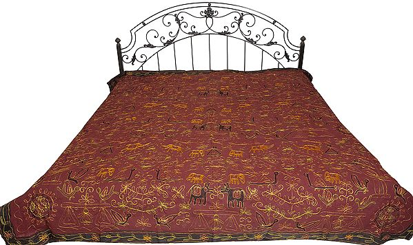 Gujarati Bedspread with Metallic Thread Embroidered Folk Motifs