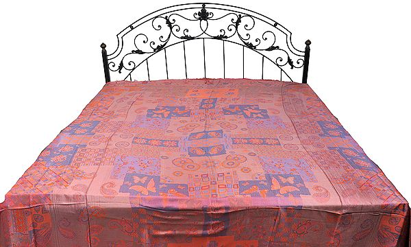 Pure Silk Jamawar Bedspread with Woven Butterflies and Paisleys