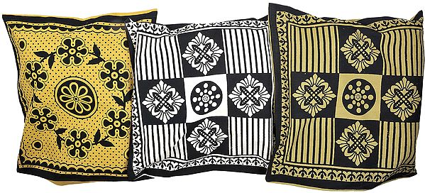 Lot of Three Cushion Cover from Pilkhuwa with Printed Flowers